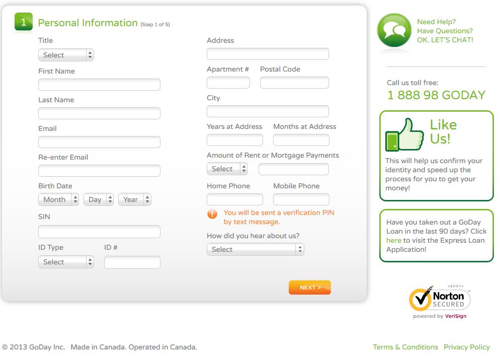 Short term loan online homepage