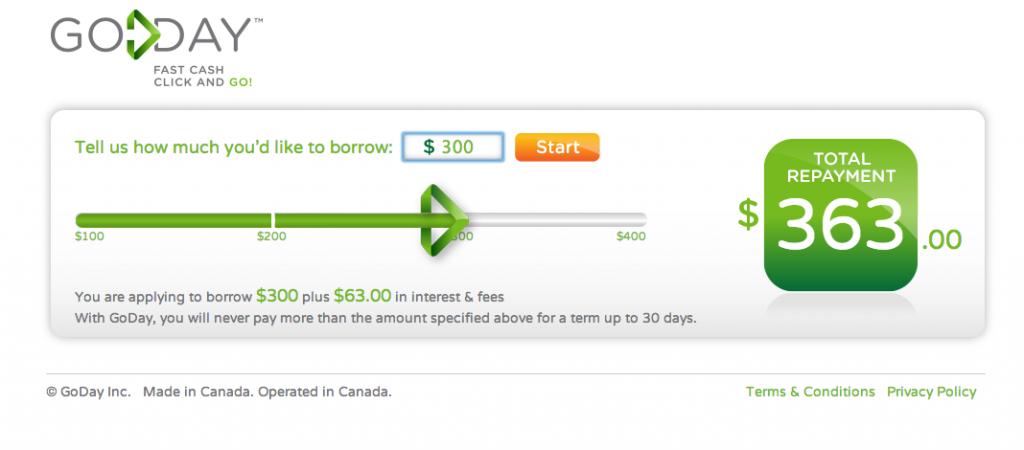 Payday loan application GoDay Slider